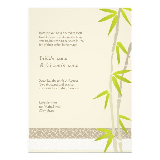 Bamboo Design Wedding Invitations