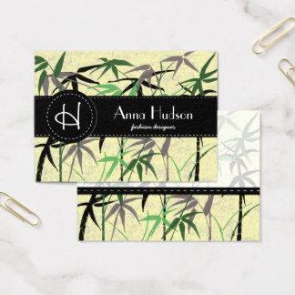 Bamboo Foliage, Leaves, Shoots - Green Yellow Business Card