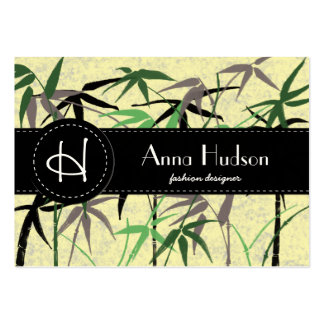 Bamboo Foliage, Leaves, Shoots - Green Yellow Large Business Card