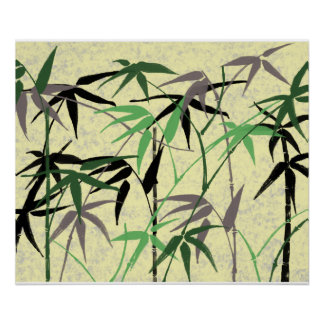 Bamboo Foliage - Stalks Leaves - Green Yellow Poster