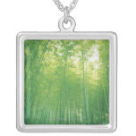 Bamboo Forest 2 Square Pendant Necklace