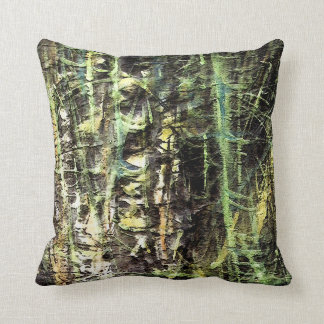 bamboo forest/blackened rain forest throw pillow