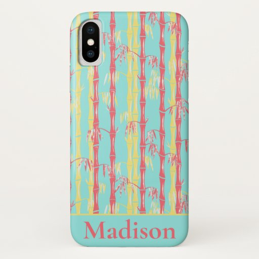 Bamboo Forest Mid Century Modern Aqua iPhone X Case