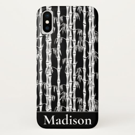 Bamboo Forest Mid Century Modern Black iPhone X Case