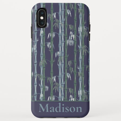 Bamboo Forest Mid Century Modern Navy iPhone XS Max Case