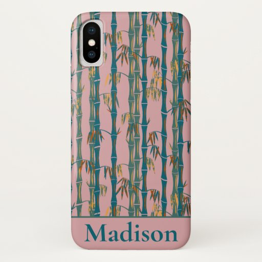 Bamboo Forest Mid Century Modern Pink iPhone X Case