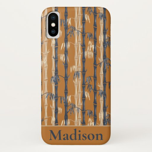 Bamboo Forest Mid Century Modern Rust iPhone X Case
