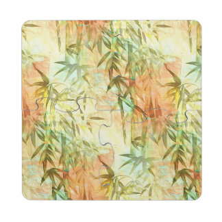 Bamboo Forest Watercolor Puzzle Coaster