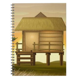 Bamboo hut spiral notebook