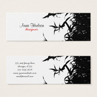 Bamboo Jungle, Stalks, Leaves, Culms - Black White Mini Business Card