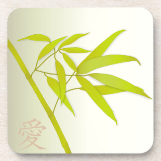Bamboo Leaves and Japanese symbol Coasters