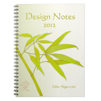 Bamboo Leaves and Japanese Symbol Notebook