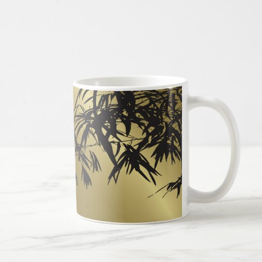 Bamboo Leaves Black + Gold Custom Gift Mug