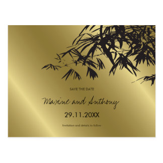 Bamboo Leaves Black + Gold Save The Date Postcard