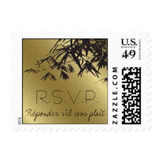 Bamboo Leaves Black + Gold Save The Date Stamps /