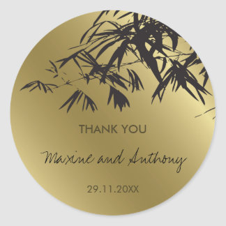 Bamboo Leaves Black + Gold Thank You / Favor Label Classic Round Sticker