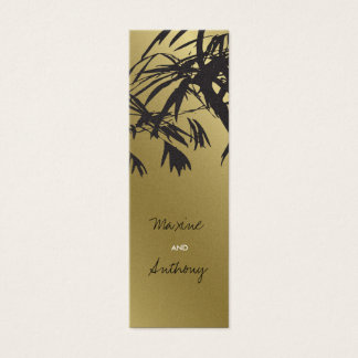 Bamboo Leaves Black + Gold Thank You Gift Tag /