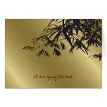 Bamboo Leaves Black Gold Wedding Invitation Card