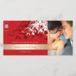 """Bamboo Leaves Chinese Wedding Thank You Photo Card<br><div class=""""desc"""">Oriental zen red, crimson and white bamboo leaves with a double happiness symbol. An elegant and stylish asian themed wedding design which is modern, simple and classy. Bamboos are mostly evergreen and they symbolize luck, happiness, wealth and long life in chinese, japanese and korean bcultures. The double happiness is a...</div>"""