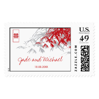Bamboo Leaves Double Happiness Chinese Wedding Stamp