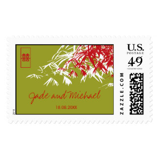 Bamboo Leaves Double Happiness Chinese Wedding Postage Stamp