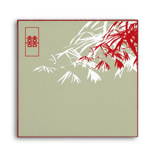 Bamboo Leaves Double Happiness Wedding Envelope