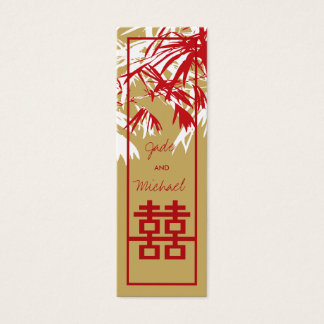 Bamboo Leaves Double Happiness Wedding Gift Tag