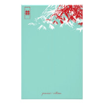 Bamboo Leaves Double Happiness Wedding Stationery