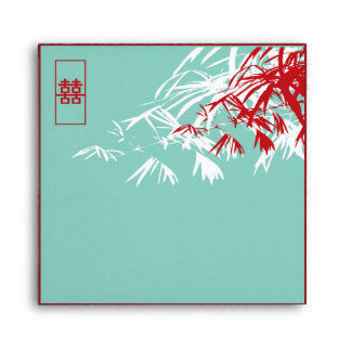Bamboo Leaves + Double Xi Blue Wedding Envelope