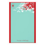 Bamboo Leaves + Double Xi Blue Wedding Stationery