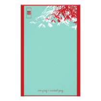 Bamboo Leaves   Double Xi Blue Wedding Stationery