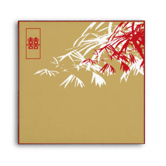 Bamboo Leaves + Double Xi Brown Wedding Envelope