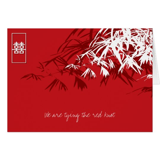 Bamboo Leaves + Double Xi Red White Invitation 2