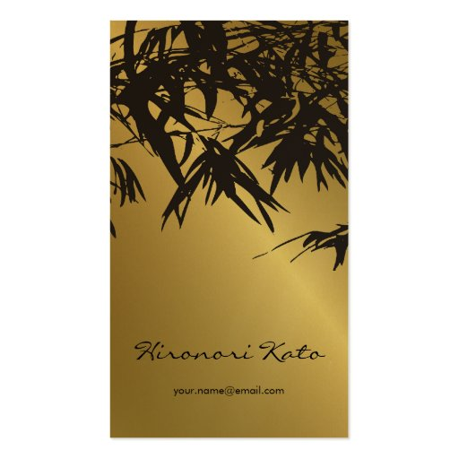 Bamboo Leaves Gold + Black Zen Custom Profile Card Business Card Template