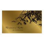 Bamboo Leaves Gold + Black Zen Custom Profile Card Business Cards