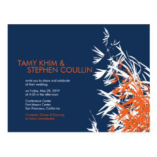 Bamboo Leaves Orange Navy Blue Invite Postcard Post Cards