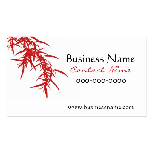 Bamboo Leaves Red Business Card