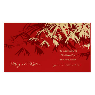 Bamboo Leaves Red Gold Zen Custom Profile Card Business Card