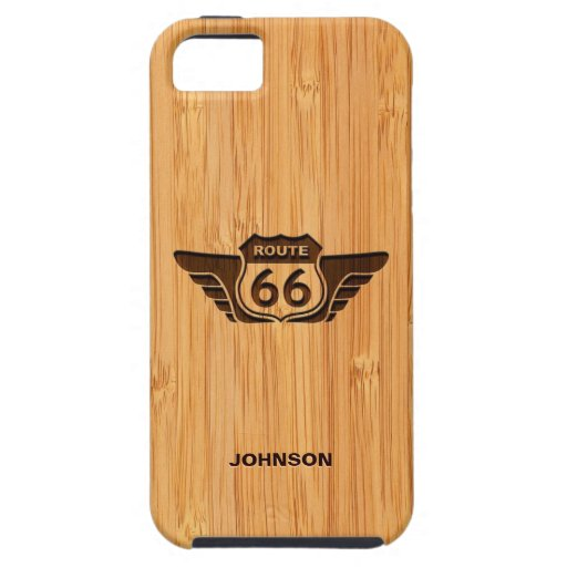 Bamboo Look & Engraved American Route 66 Sign iPhone 5 Cases