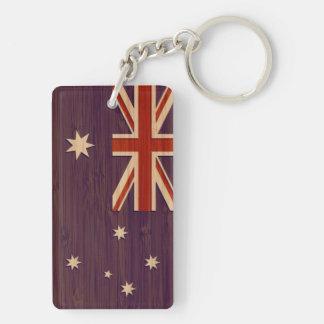 Bamboo Look & Engraved Australia Australian Flag Double-Sided Rectangular Acrylic Keychain