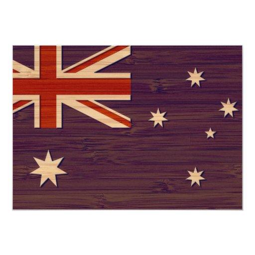 "Bamboo Look & Engraved Australia Australian Flag 5"" X 7"" Invitation Card"