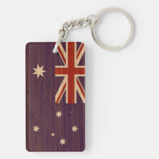 Bamboo Look & Engraved Australia Australian Flag Keychain