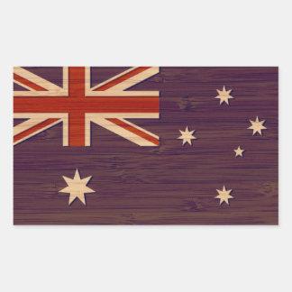 Bamboo Look & Engraved Australia Australian Flag Rectangular Sticker