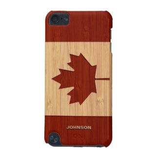 Bamboo Look & Engraved Canada Flag Maple Leaf iPod Touch (5th Generation) Cover