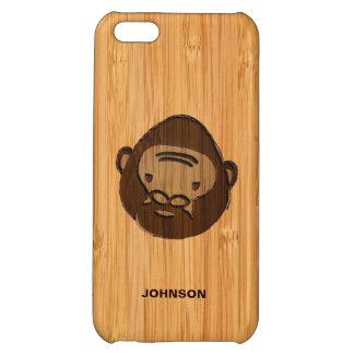 Bamboo Look & Engraved Cute Ape Gorilla iPhone 5C Cases