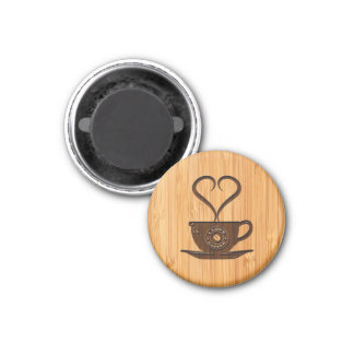 Bamboo Look & Engraved Cute I Love Coffee 1 Inch Round Magnet