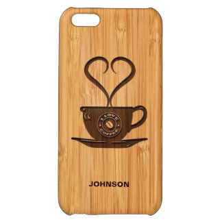 Bamboo Look & Engraved Cute I Love Coffee iPhone 5C Covers