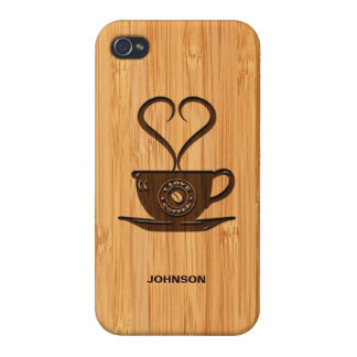 Bamboo Look & Engraved Cute I Love Coffee iPhone 4 Covers