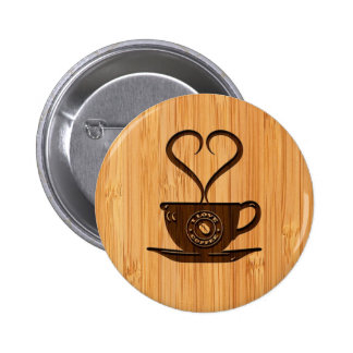 Bamboo Look & Engraved Cute I Love Coffee Pinback Button