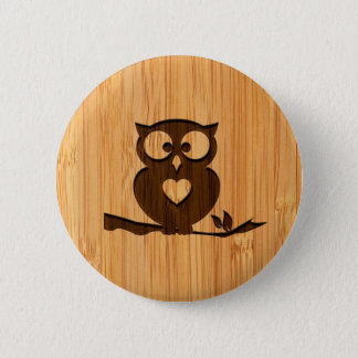 Bamboo Look & Engraved Cute Owl in Tree Button